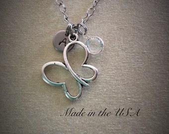 Butterfly necklace Birthstone jewelry Personalized necklace Best friend necklace BFF gift Butterfly jewelry Swarovski birthstone handstamped