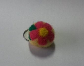 Needle Felted Flower keychain, wool keychain