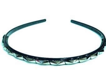 Headband beaded end - hematite