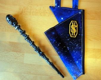 Zauberstab mit passendem Holster, handgearbeitet, LARP, blau