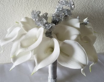 Ivory Silver Calla lily Bridal Wedding Bouquet & Boutonniere