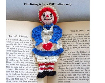 raggedy ann thread crochet bookmark  pattern, unique bookmark diy, amigurumi bookmark instructions, stocking stuffer diy, readers gift pdf