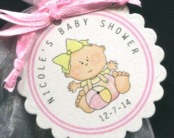 Personalized Baby Girl Baby Shower Favor Tags, Baby Girl With Ball, Set of 25 Round Scallop Tags