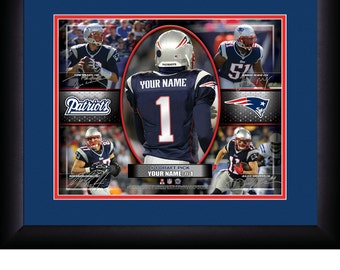 New England Patriots NFL Personalized Action Collage 15x18 MATTED and FRAMED