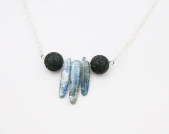 Kyanite and Lava Rock Personal Diffuser Necklace