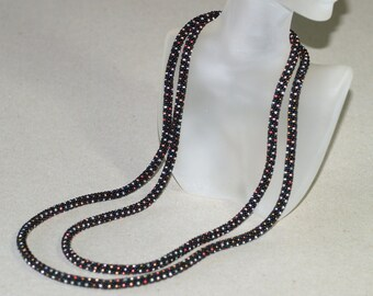 Starry Night ... Necklace . Bead Crochet . Metallic . Black Necklace . Infinity Wrap . Elegant Necklace . Easy to Wear . Chic Accessory