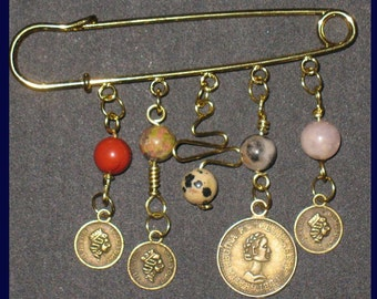 ON SALE~Beaded Gold Toned KILT Pin with Queen Elizabeth Coins Renaissance and Costuming Accessory