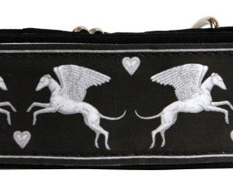 Jane Walker Angel Fabric -Black and Silver Martingale Collar-