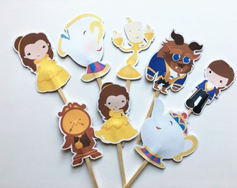 Beauty and The Beast  Cupcake toppers/Beauty and the Beast/Princess Belle Cupcake toppers/Belle Cupcake toppers/Belle Party/Belle Birthday