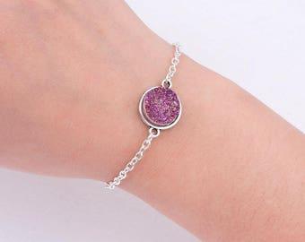 Druzy Bracelet, Silver Druzy Pendant, Silver Druzy Bracelet, Gray Druzy, Pink Druzy, Gift for Her, Mother's Day, SALE
