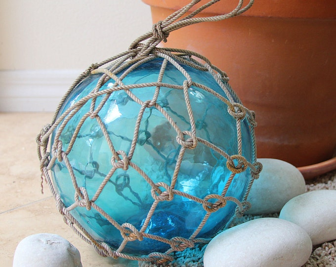 """Fishing Float in Rope Netting, Sky Blue 9-10"""" by SEASTYLE"""