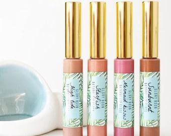All natural lip gloss, vegan lip gloss, bath and beauty