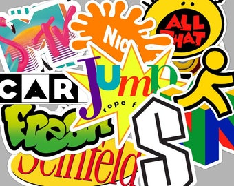 90's  Sticker Set - Fresh Prince - All That - AOL - Cartoon - Seinfeld - MTV - Nintendo **Water Proof Stickers**