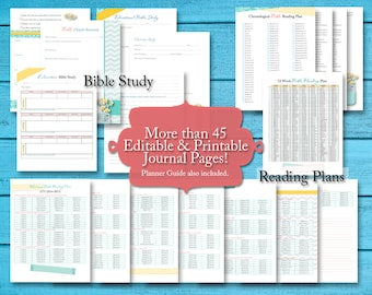 Bible Study Journaling & Faith Planner w/ 50+ pgs Faith Based Printables: Bible Study, Bible Reading Plans, Prayer Journal, and More!