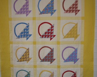 Vintage Feed sacks Baskets Quilt, Yellow/Gingham, Unused