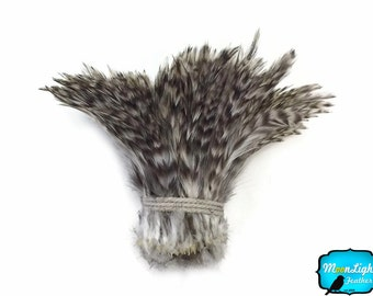 Rooster Feathers, 1 Yard - GREY CHINCHILLA Strung Rooster Neck Hackle Wholesale feathers (bulk) : 3904