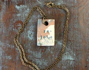 "Clay diffuser necklace ""rejoice"""
