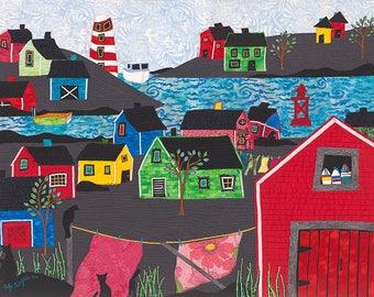 Fishing Village, Free Shipping, Kelly Burgess, Boats, Bright Houses, Nova Scotia, Cats, Buoys, Ocean, Lighthouse, Laundry, Red Right Return