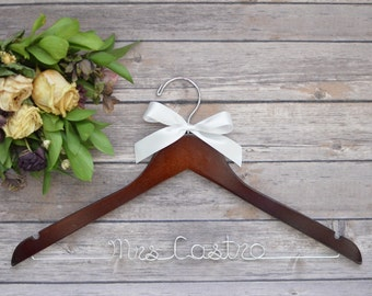 Bride Hanger, Wedding Dress Hanger, Wedding Hanger, Bridesmaid Hanger, Personalized Hanger,  Mrs Hanger, Bride Gift, Personalized Bride Gift