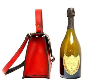 Red Leather Tote, Ladies Small Red Leather Handbag, with top handle. Red Leather Day Bag, Red Leather Clutch, Cross body,  The Total Minnie.