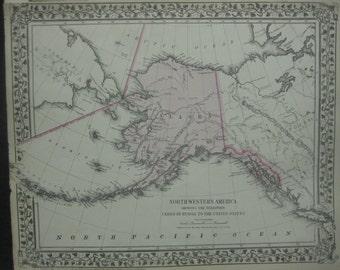 Territory of Alaska Hand-Colored Map, 1876