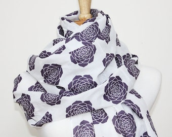 Purple Succulent Scarf -  Women's Scarf - Shawl / Wrap - GOTS Certified Scarf - Tasseled Scarf - 100% Organic Cotton Voile Accessories
