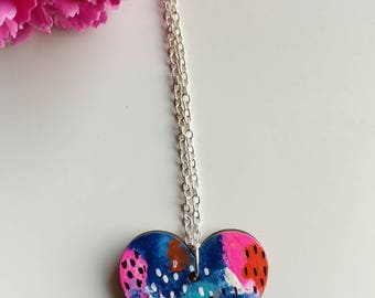 Abstract art jewelry, Modern jewelry, Hand painted necklace, OOAK jewelry, Gift for friend, Sister gift, Heart pendant, Colorful pendant