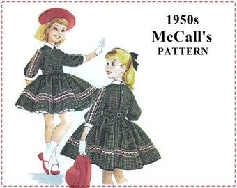 1950s Girls' Dress Sewing Pattern - McCall's 5087 Sewing Pattern - Girls' Dress and Petticoat, Full Skirt - Size 8 Bust 26, Helen Lee Design
