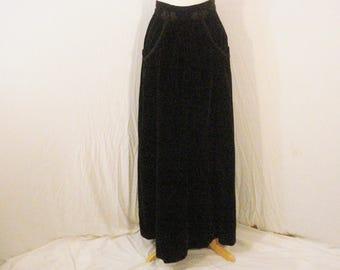 Black Velvet Maxi Skirt Vintage Victor Costa Glam Chic Sophisticated Long Skirt SM