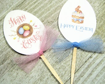 Adorable Easter Egg Cupcake Toppers - Set of 12 - Dessert Topper - Easter Church Party - School Party - Easter Dinner Decor - Appetizer Pick