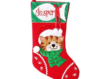 Personalised Cat with Fish Christmas Stocking