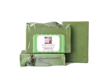 Green Tea Soap - Gift for Tea Lover - Body & Facial Soap - Phthalate Free - Unisex - Vegan Cruelty Free - Cold Process