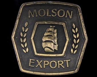 Vintage Molson Export Ship Canada Canadian Beer Bar Club w Bottle Opener Belt Buckle