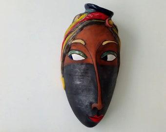 Head woman mask, Handmade ceramic mask, Hanging wask, Wall mask, Home decor mask, Handmade ceramic sculpture, Voodoo mask, Ceramic artwork
