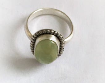 Prehnite Sterling Silver Ring