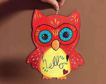 Whimsical Red Owl HELLO Sign