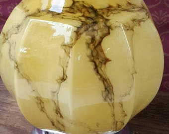 Mid century ceiling light - yellow marbled Globe / sphere opaline lamp shade with Ceiling fixture
