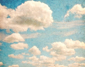 Spring Shabby Chic Decor Cloud Photo Nature Decor Blue Wall Art White Clouds in a Blue Sky 8x8 inch Fine Art Photography Print Whimsy