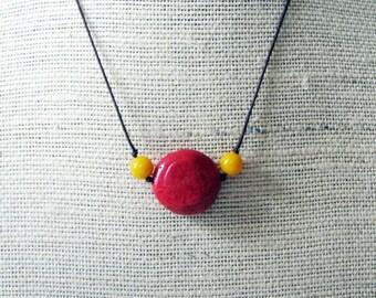 Deep Summer Coral Necklace