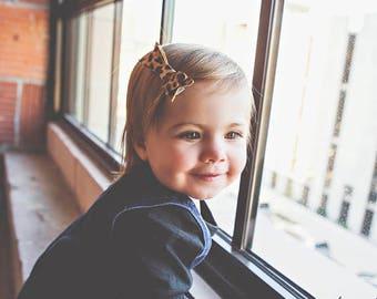 Baby Hair Bows - Leather Hair Clip - Leopard Hair Bows - Leather Hair Clip in Leopard