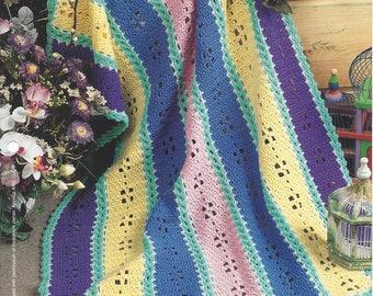 Crochet Afghan Blanket Pattern Sophisticated Lady, Mile A Minute, Home Decor, Bedspread, Sofa Throw, Bedding, Stripe Blanket