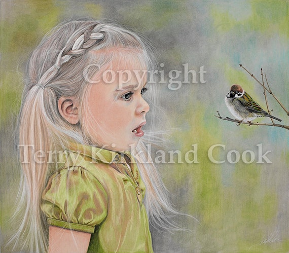 The Sparrow ~ Fine Art Giclee Print of an Original Copyrighted Painting by Terry Kirkland Cook