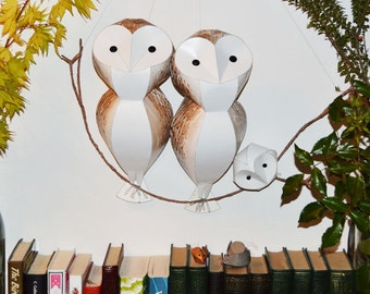 Barn Owl sculpture (large size), wall art, handmade parliament of owls