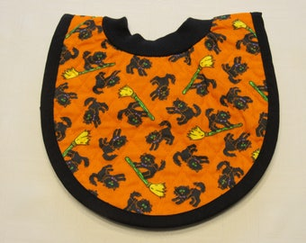 Black Cat Pop-on Quilted Baby Bib
