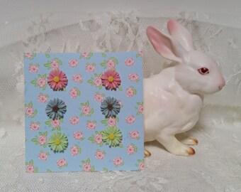 FLOWER DROP Stud Earrings Teens Tweens Toddler Girls Vintage Style Flowers Surgical Steel Posts Pink Mint Pearl Birthday Stocking Stuffer