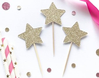 glitter star Cupcake Toppers - Birthday Party- First Birthday - Twinkle Twinkle Little Star Theme- Baby Shower decor