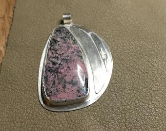 Handmade PINK Rhodonite Pendant and .925 chain