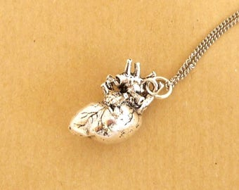 skeleton skull steampunk silver anatomical Heart Necklace