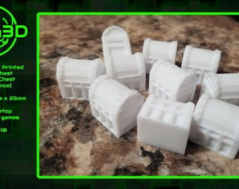 Chests, Scenery for Tabletop RPG, 3D Printed and Paintable