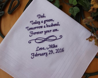 Today a groom tomorrow a husband, gift from groom to dad, embroidered handkerchief, gift for father of the groom, wedding gift. MS2F23
